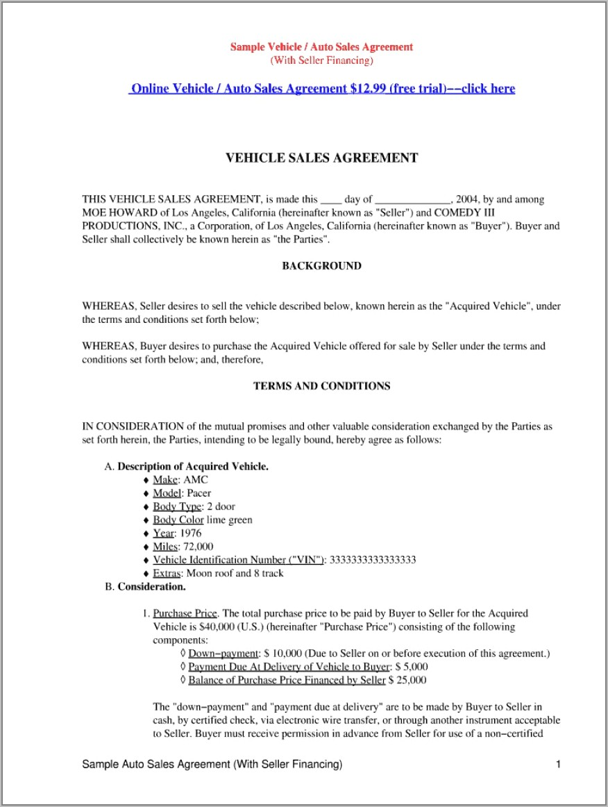 Used Car Sales Agreement Template