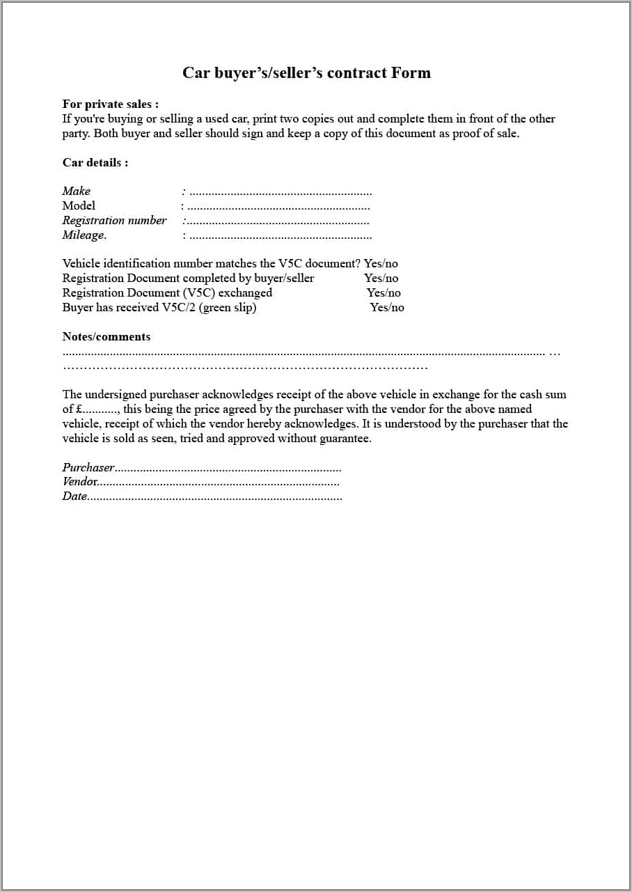 Used Car Sales Contract Template