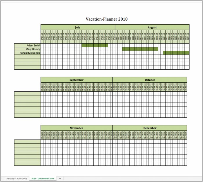 Vacation Schedule Template 2014