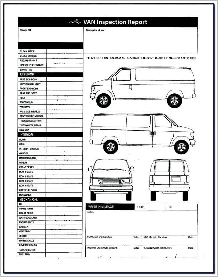 Vehicle Body Inspection Sheet Template