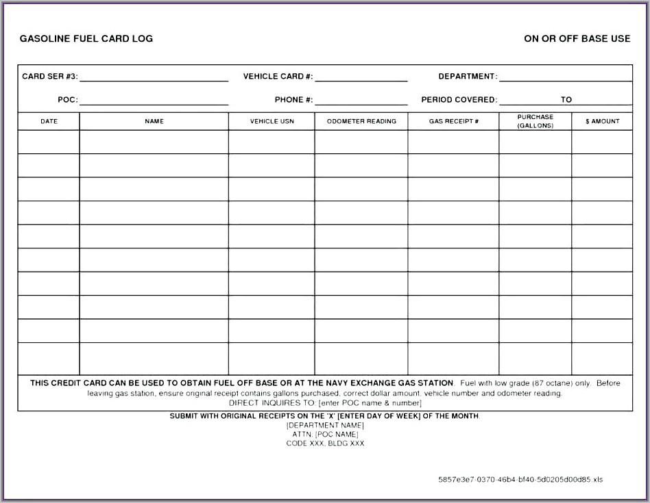 Vehicle Expense Log Template