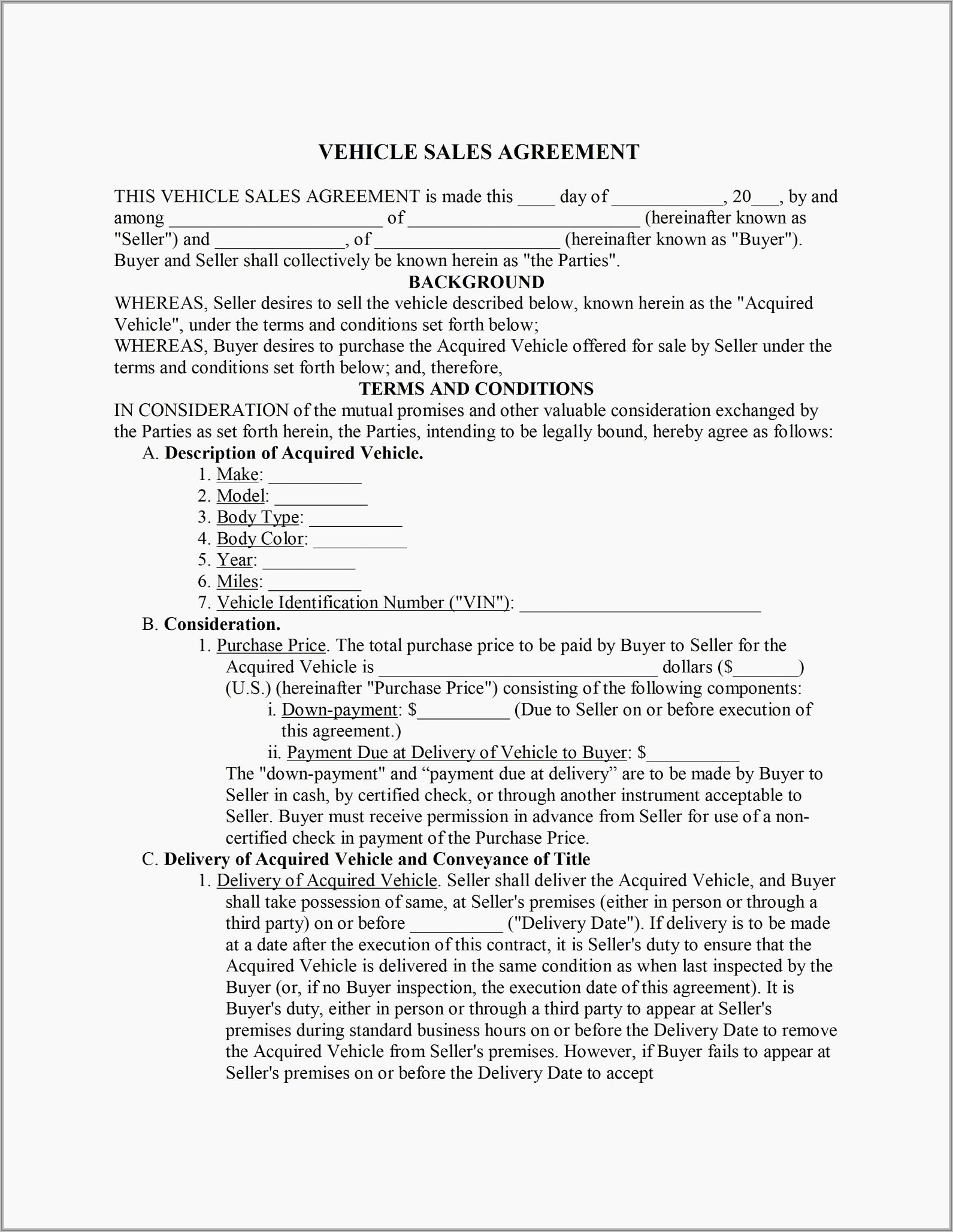 Vehicle Sale Agreement Format In Word India