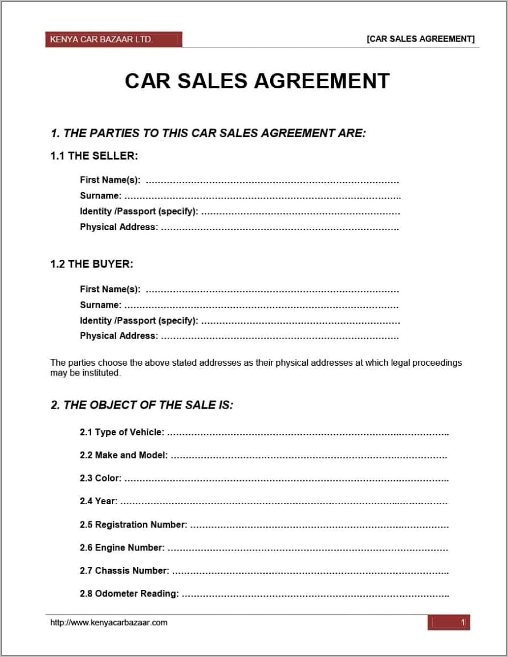 Vehicle Sale Agreement In Word Format India