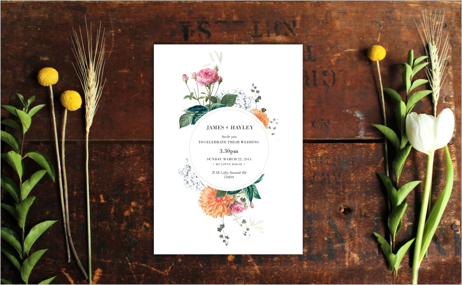 Vintage Botanical Wedding Invitations