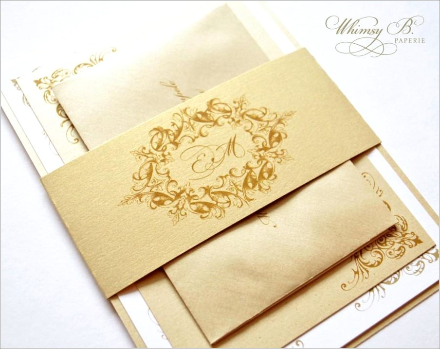 Vintage Gold Wedding Invitations