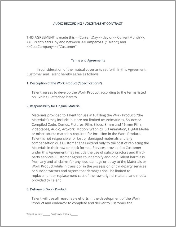 Voice Over Talent Contract Template
