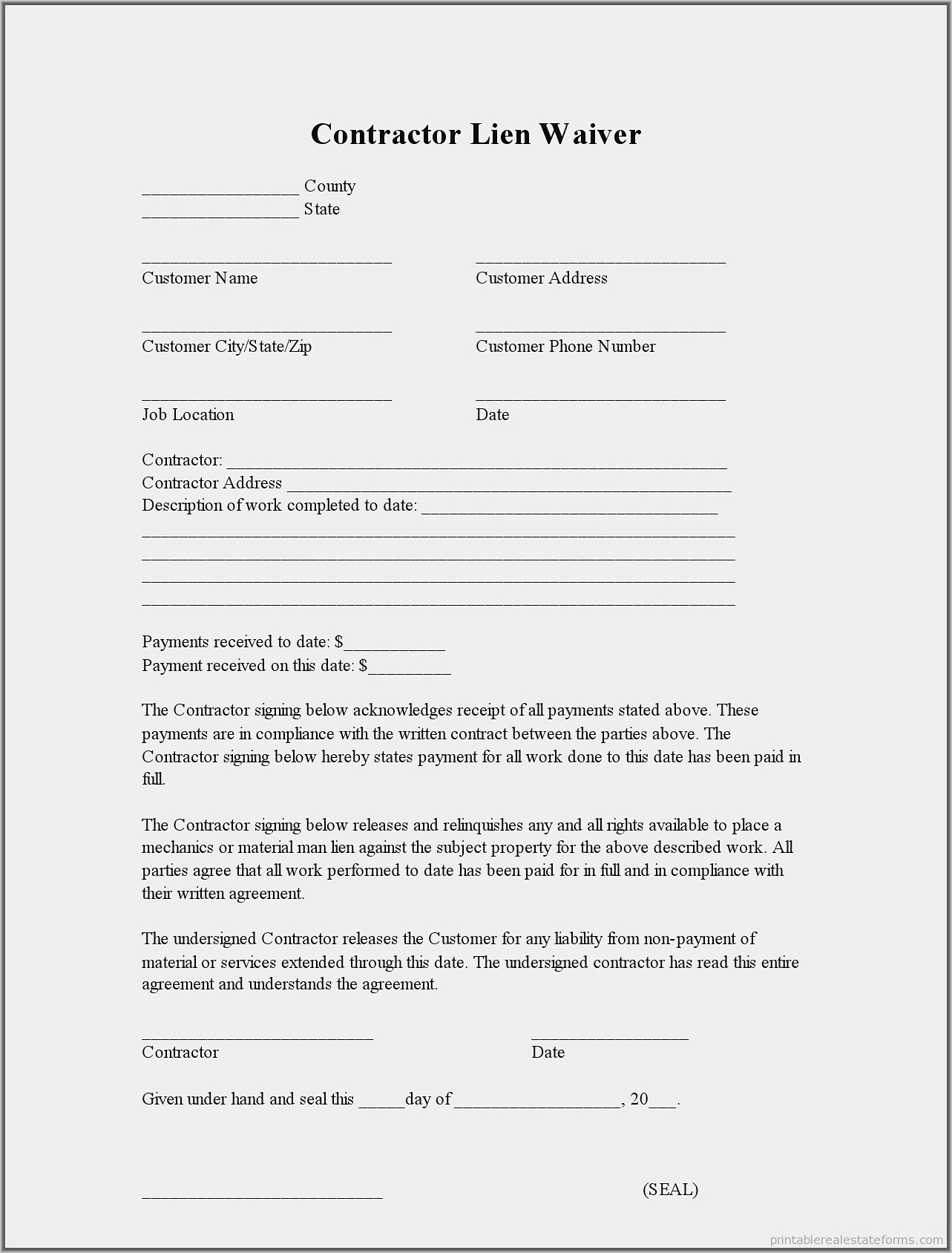 Waiver Of Lien Form Indiana