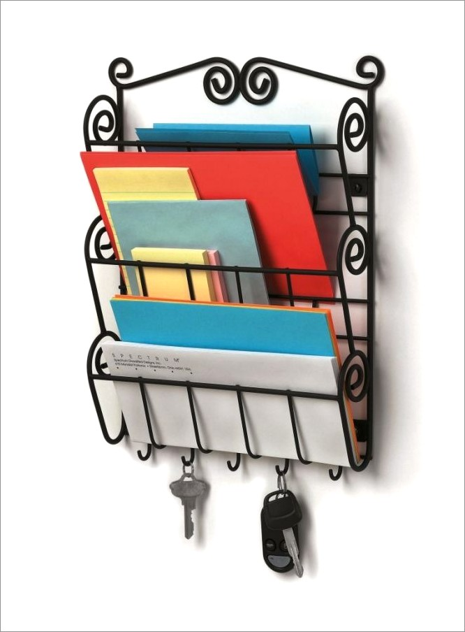 Wall Mount Letter Holder With Key Rack