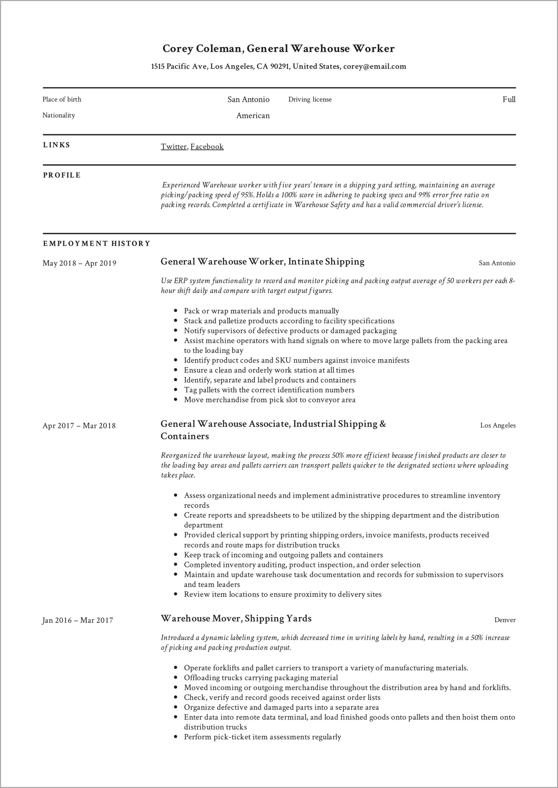 Warehouse Lead Hand Resume Sample