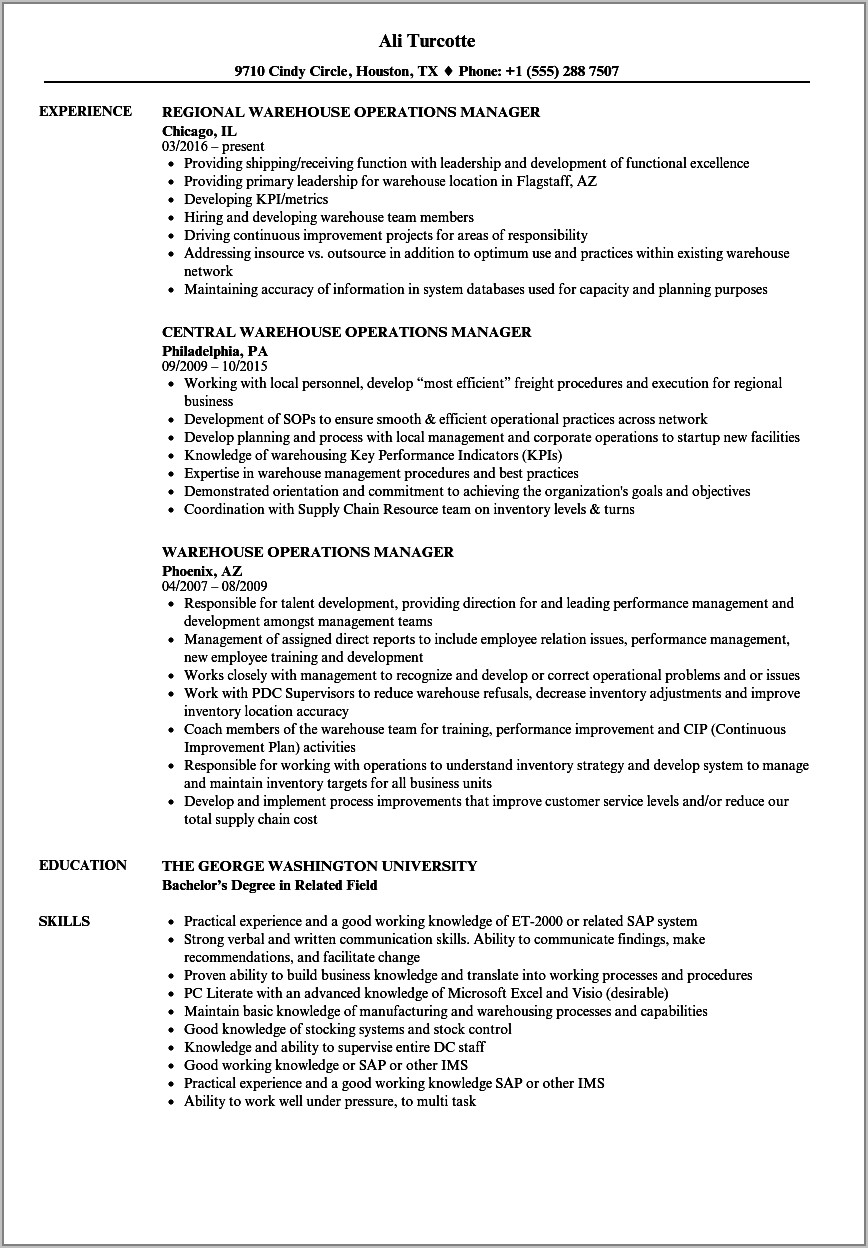 Warehouse Manager Job Profile Sample