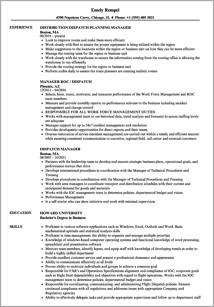 Warehouse Manager Resume Format India