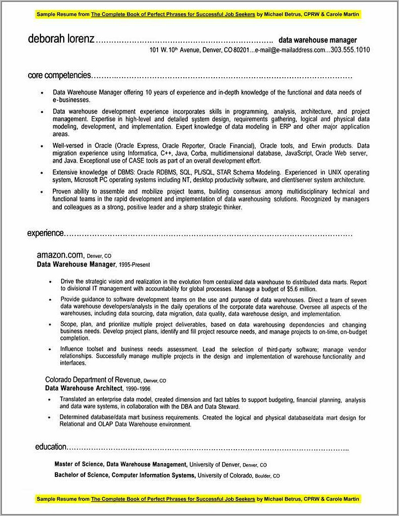 Warehouse Manager Resume Templates