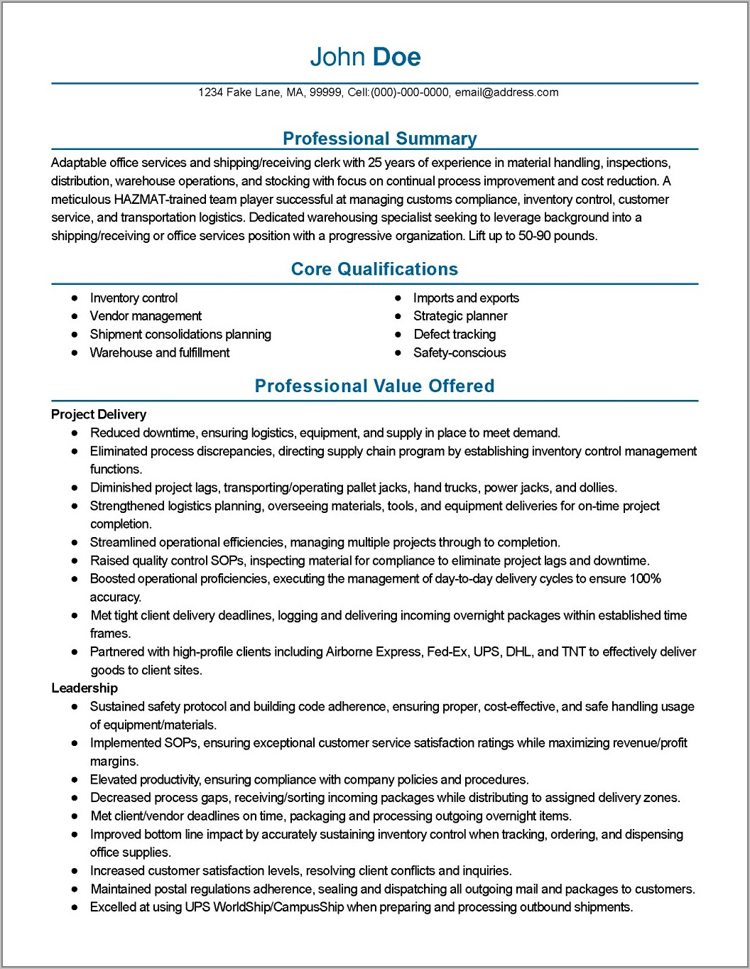 Warehouse Operations Manager Job Description Template