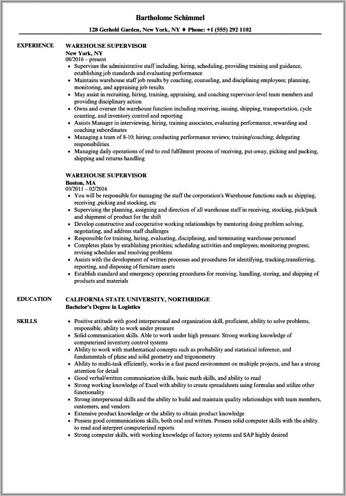 Warehouse Supervisor Cv Format