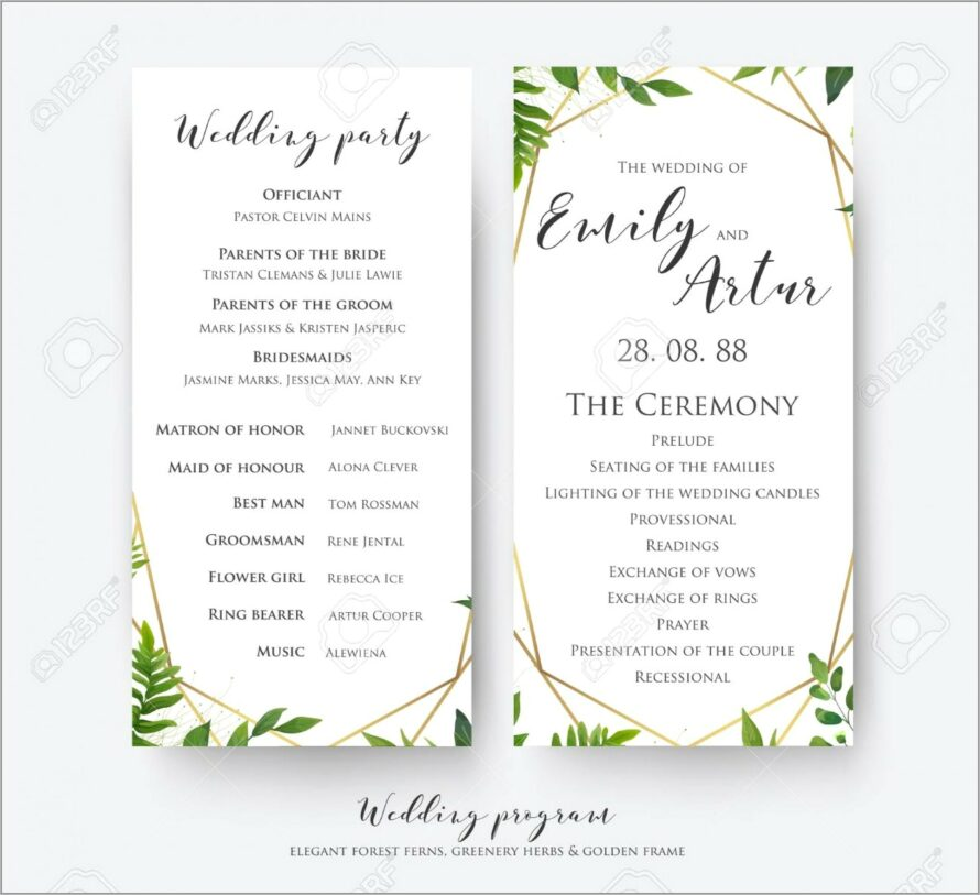 Wedding Program Templates Free Online