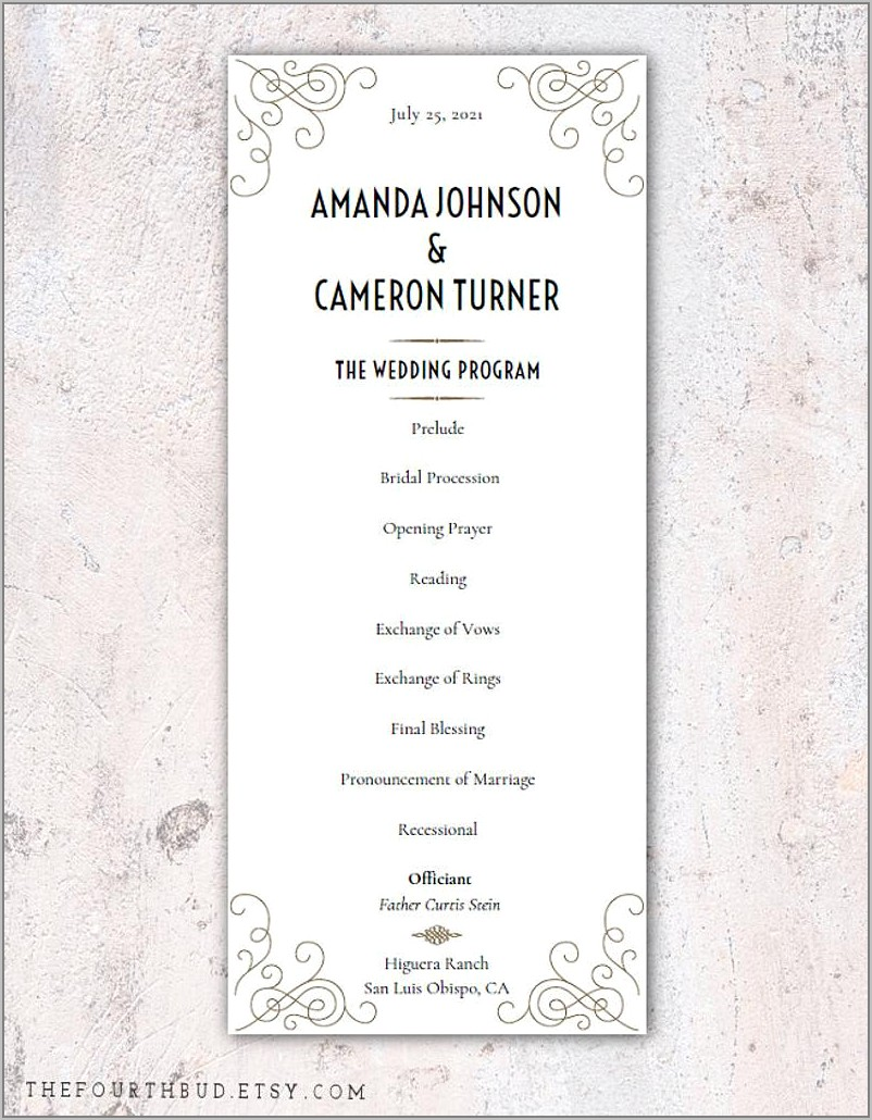Wedding Reception Program Templates South Africa