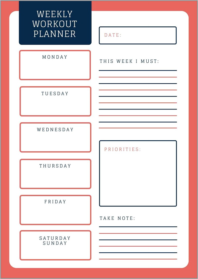 Weekly Exercise Planner Template