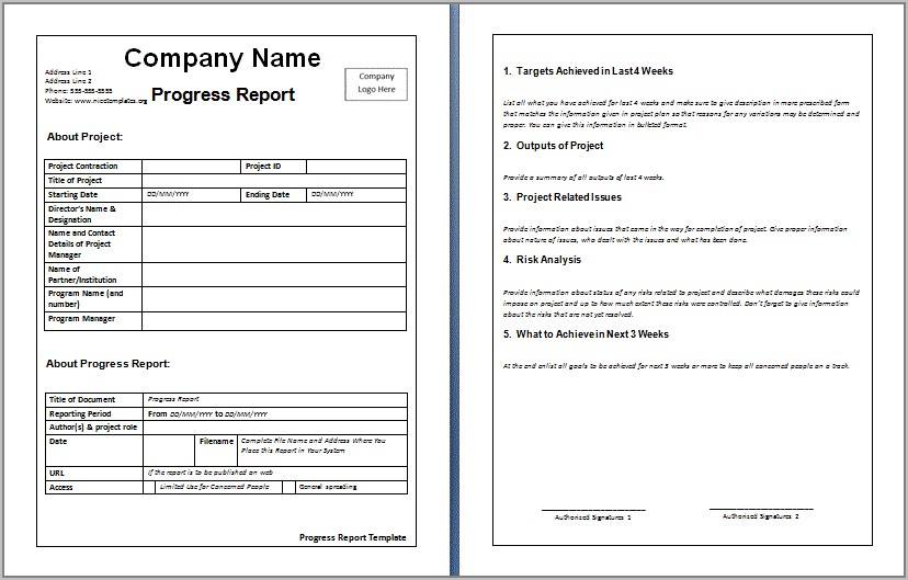 Weekly Report Templates Word