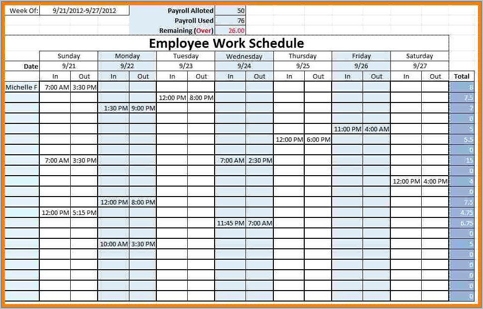 Weekly Shift Schedule Template