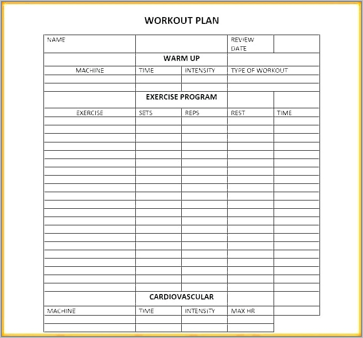 Weekly Training Plan Template Word