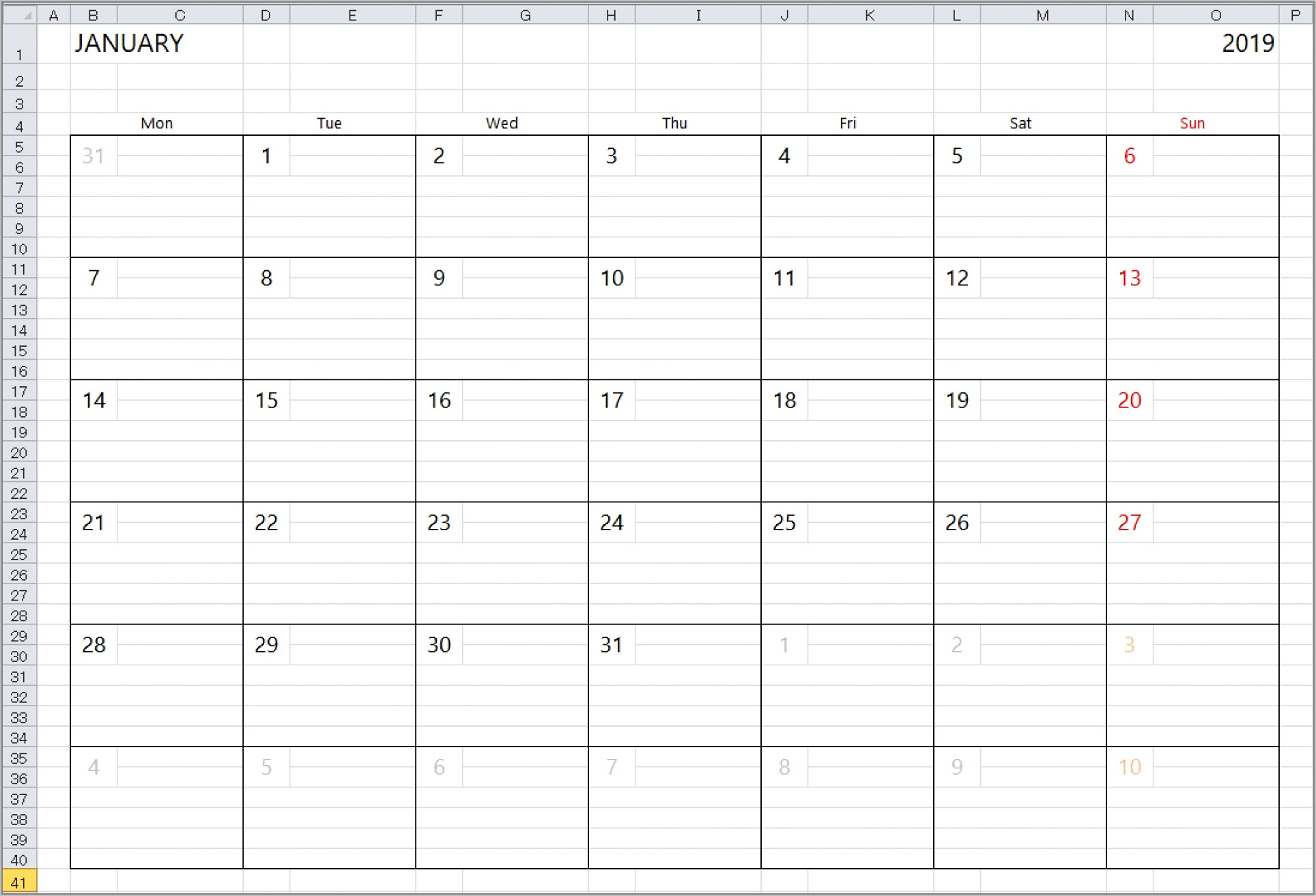 Weekly Training Planner Template