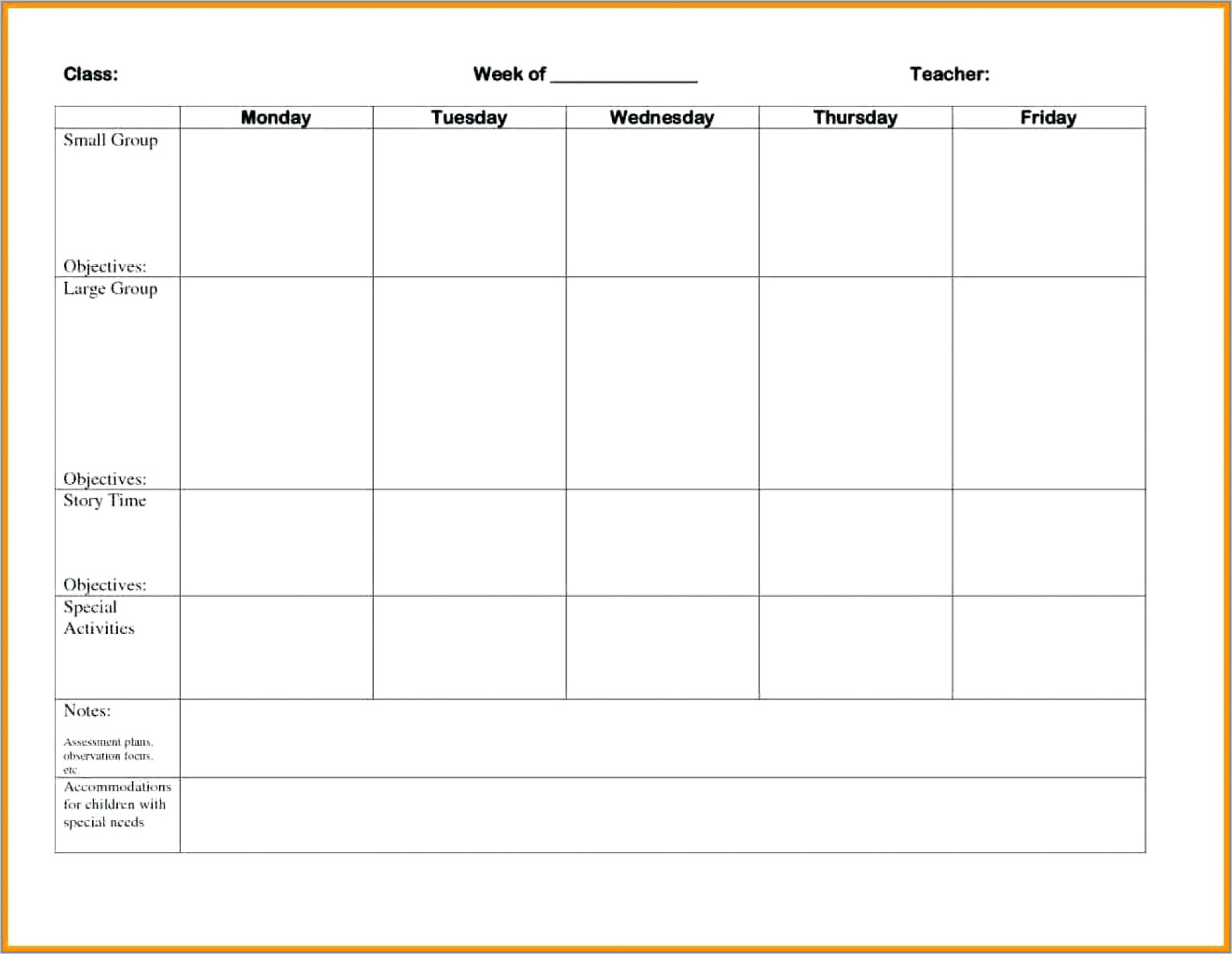 Weekly Training Schedule Template