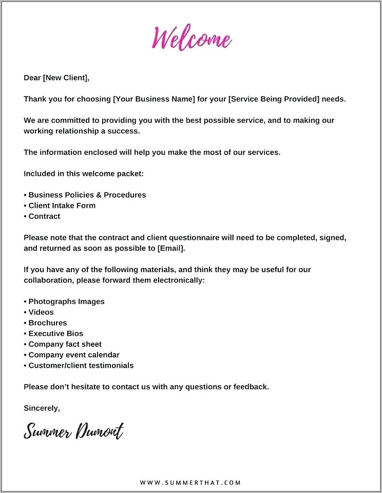 Welcome Letter Sample For New Client