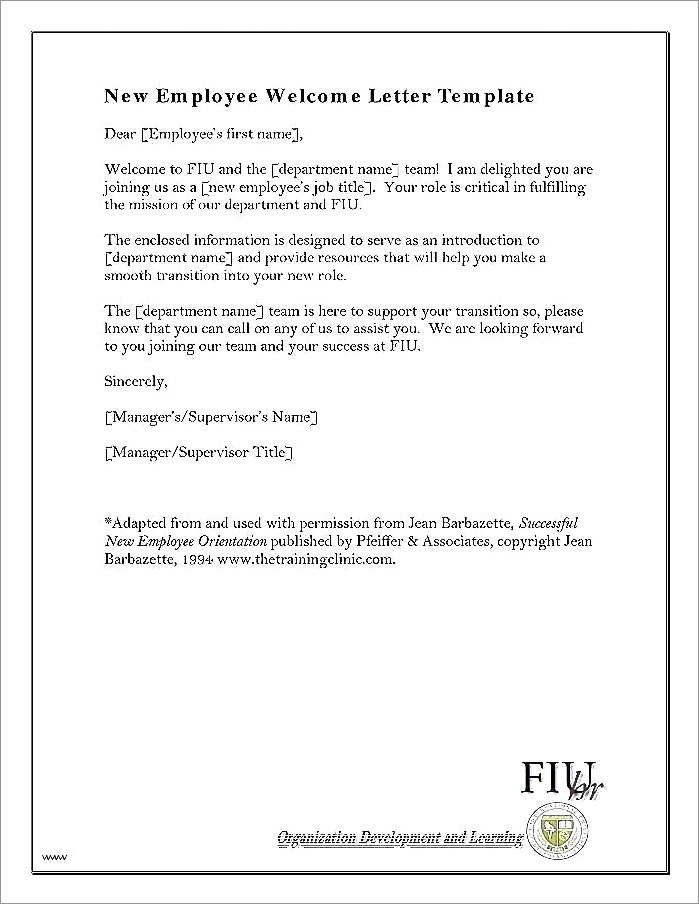 Welcome To The Team Letter Template