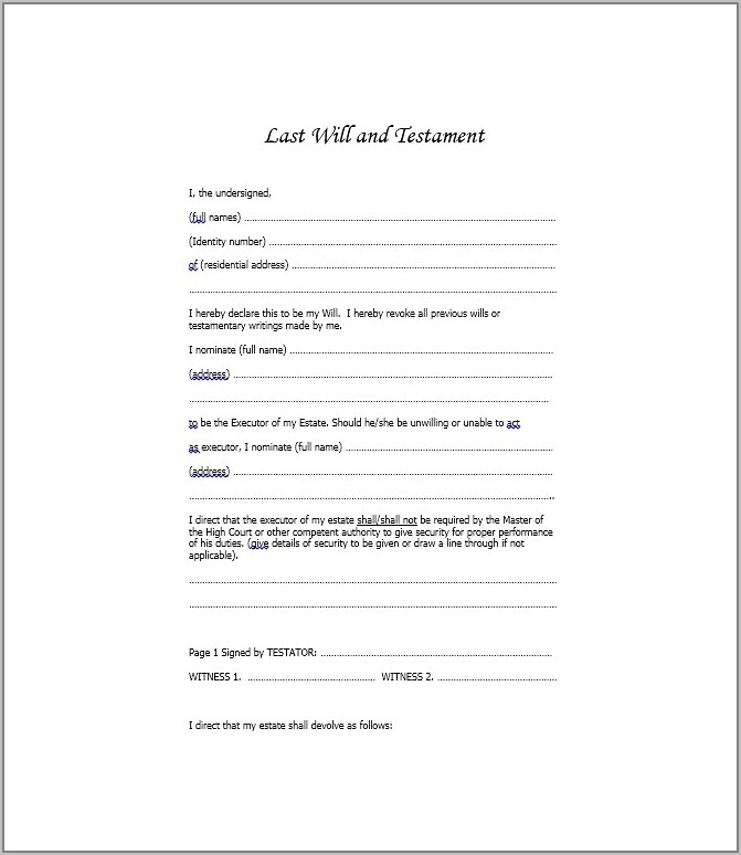 Will And Last Testament Template