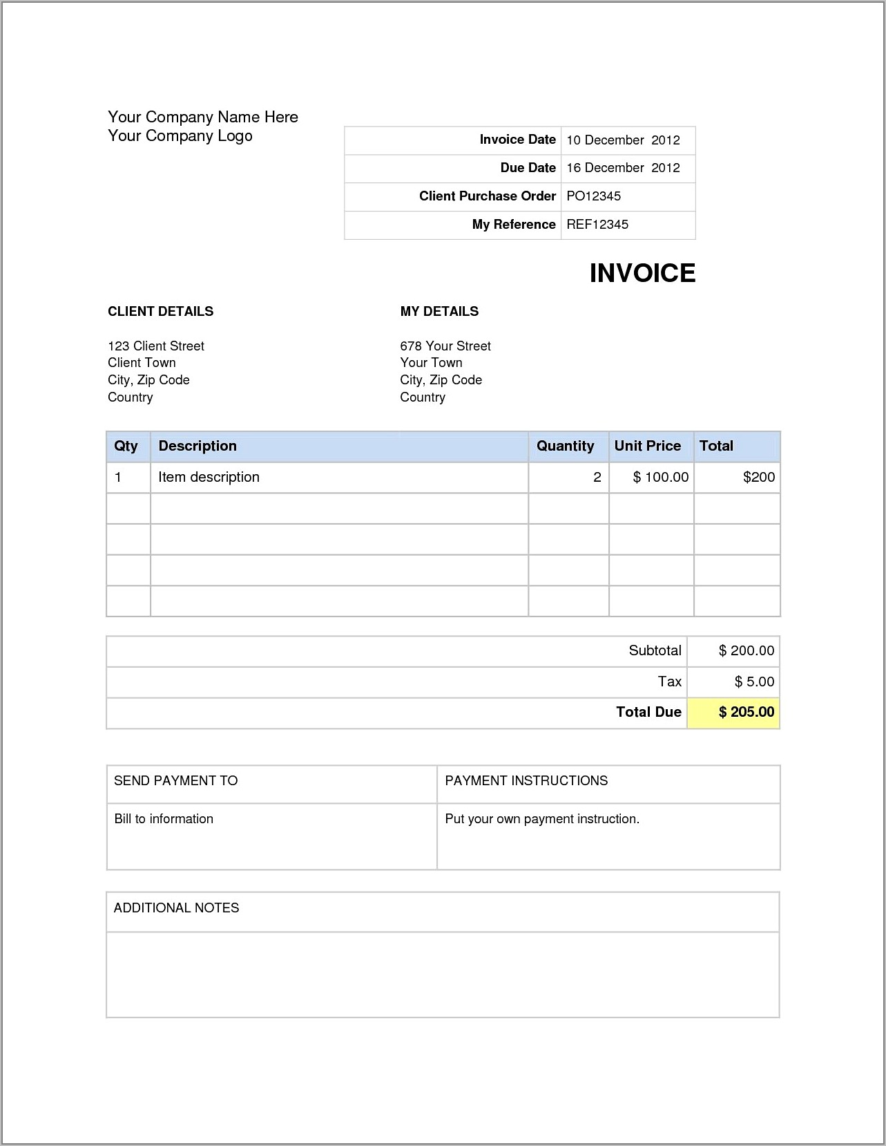 Word Doc Invoice Template