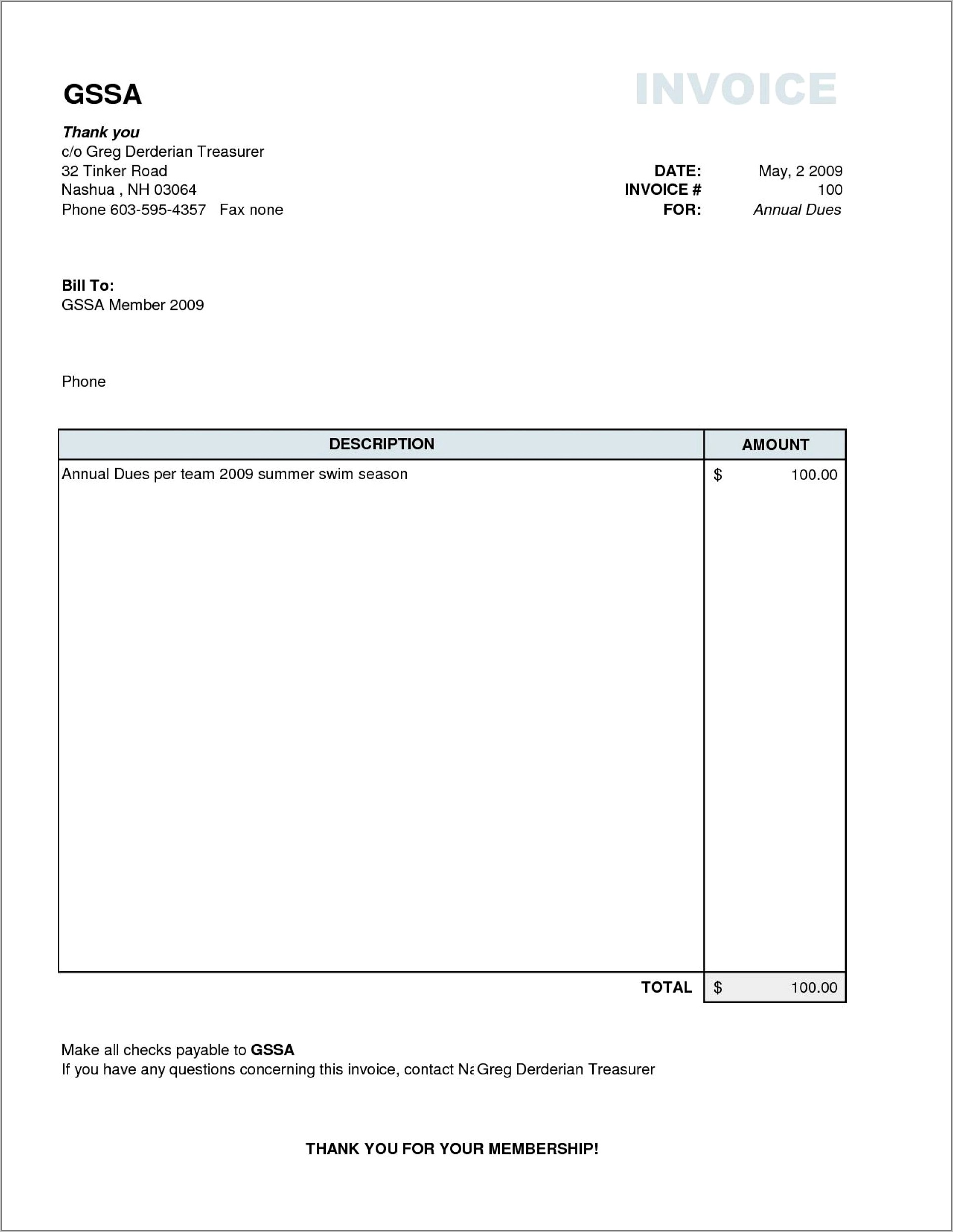 Word Document Template For Invoice