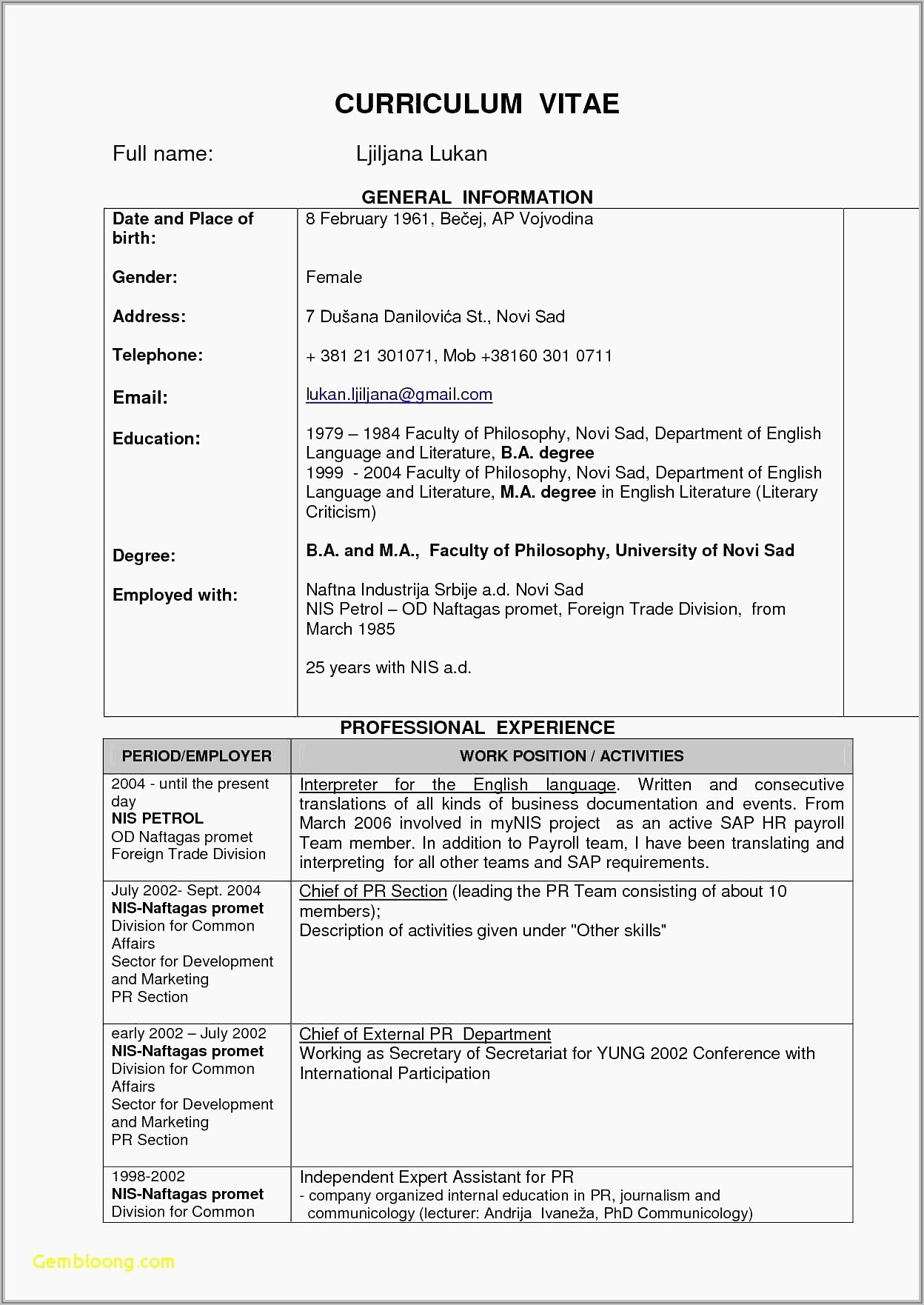Word Document Templates For Resumes