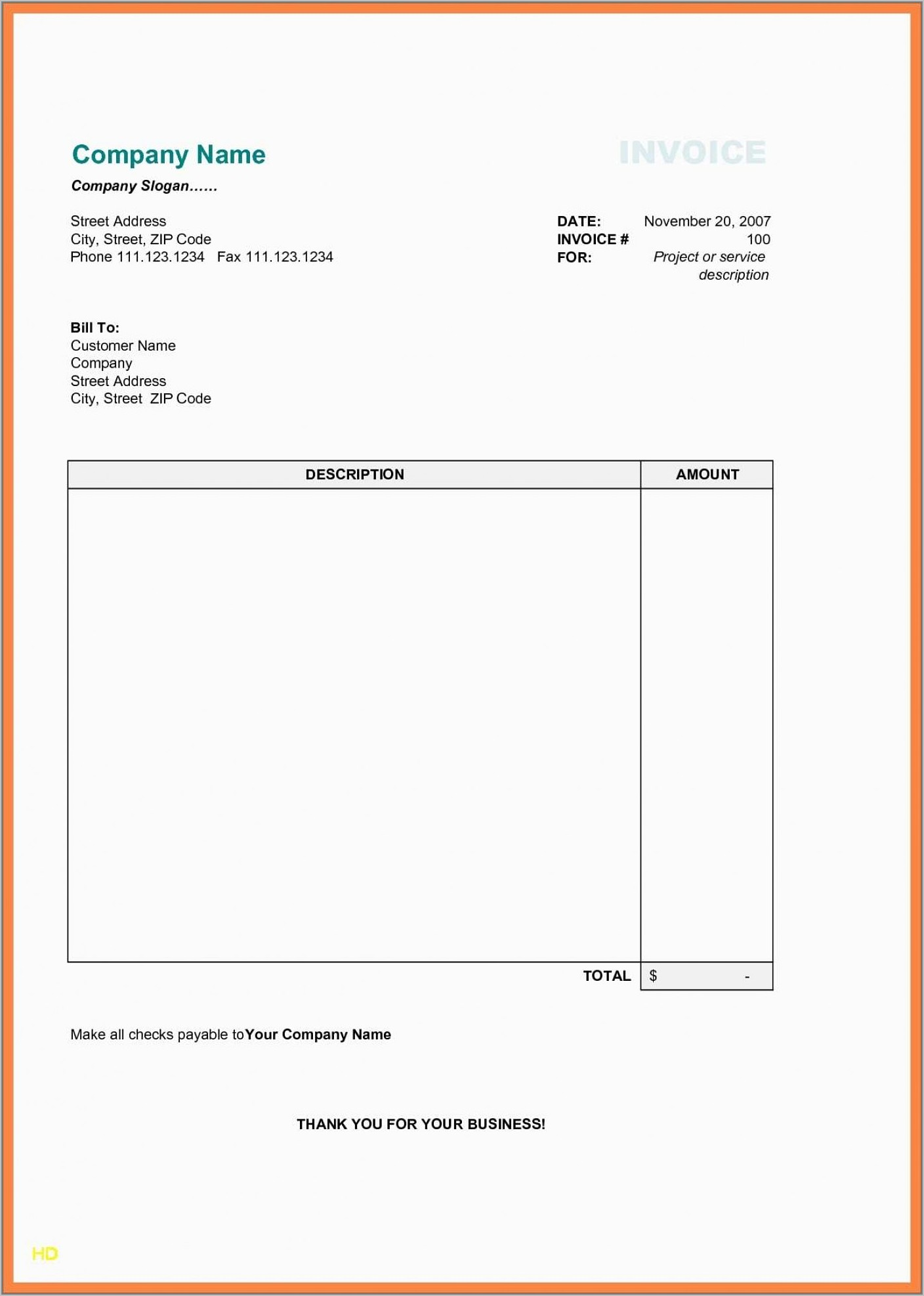 Word Template For Invoices