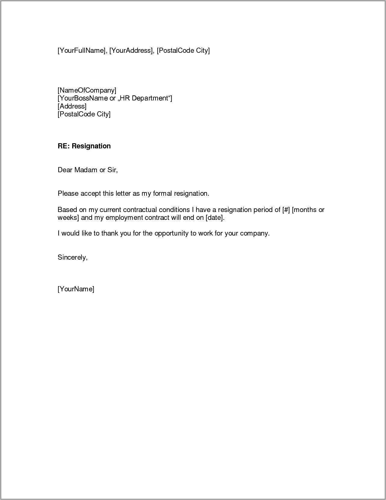 Write Formal Resignation Letter Sample