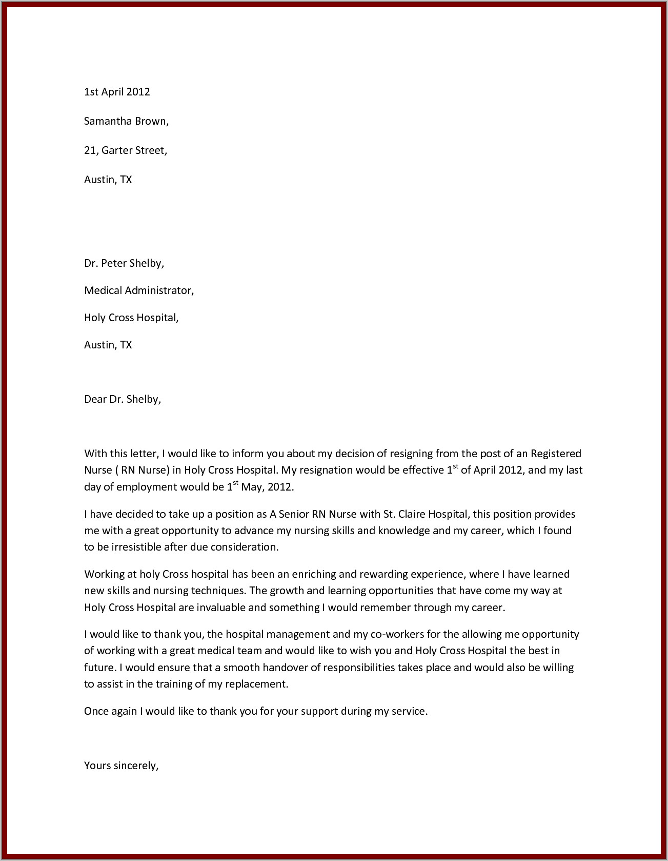Write Nursing Resignation Letter Samples