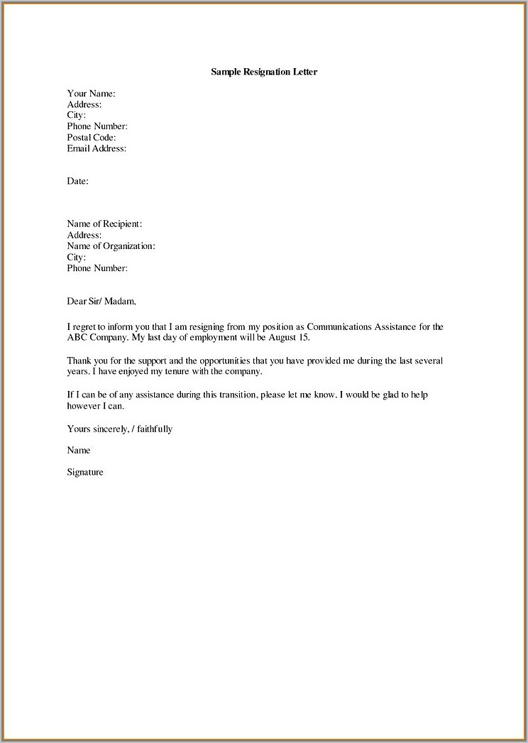 Writing A Resignation Letter Template Uk