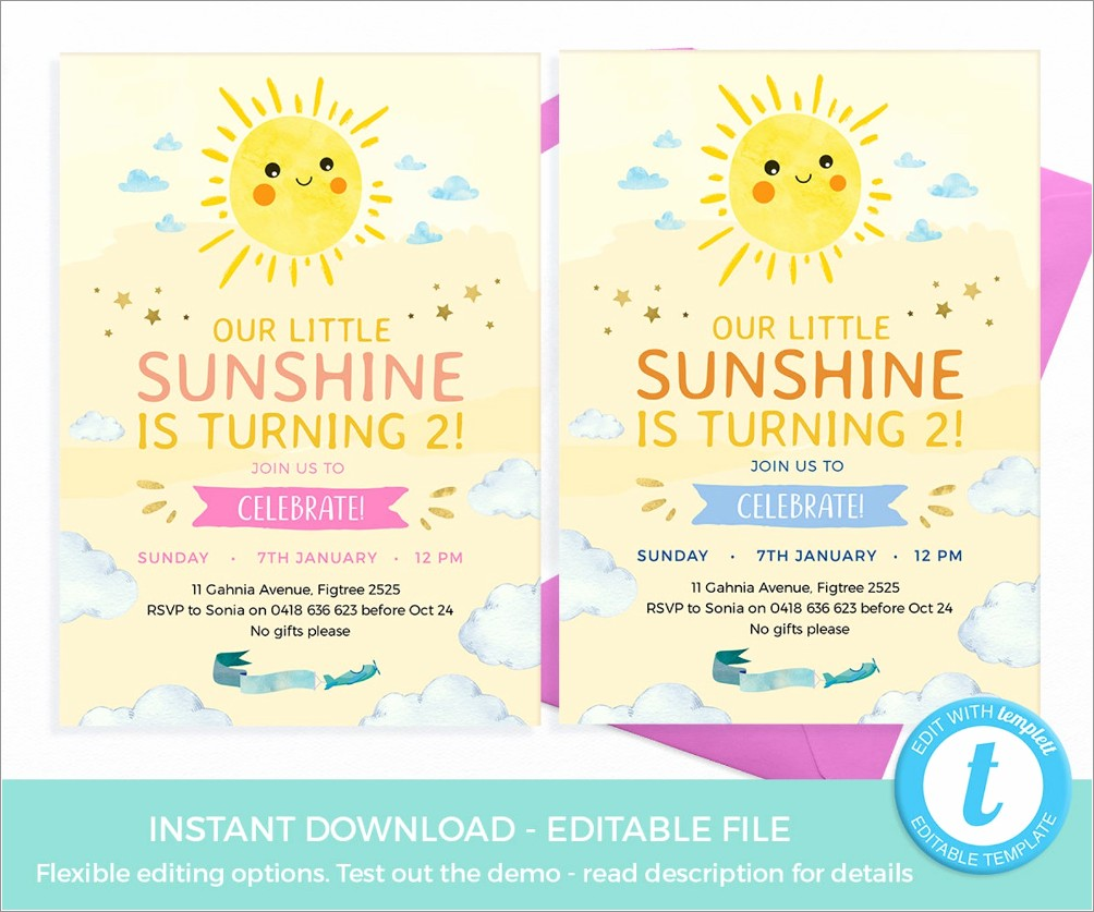 You Are My Sunshine Invitation Template