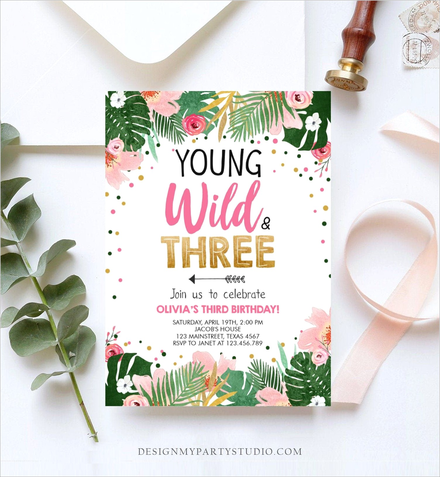 Young Wild And Three Invitation Template