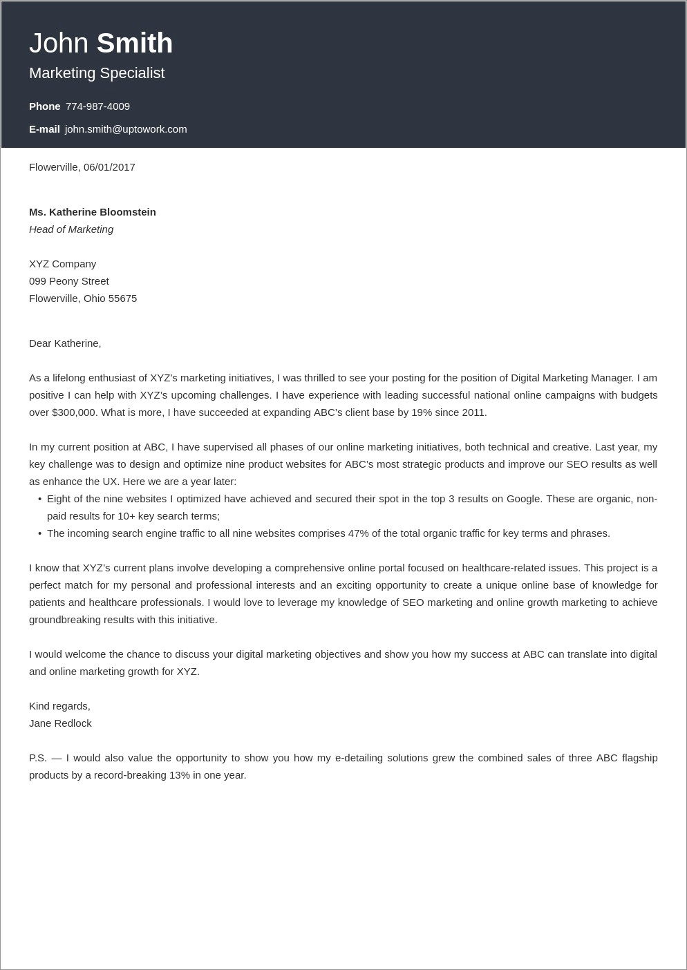 Zety Cover Letter Template