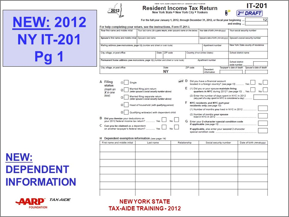 2012 New York State Income Tax Forms