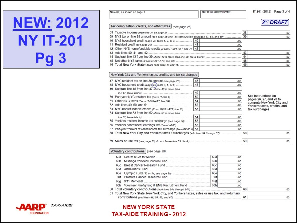 2012 Nys Tax Form It 201 Instructions