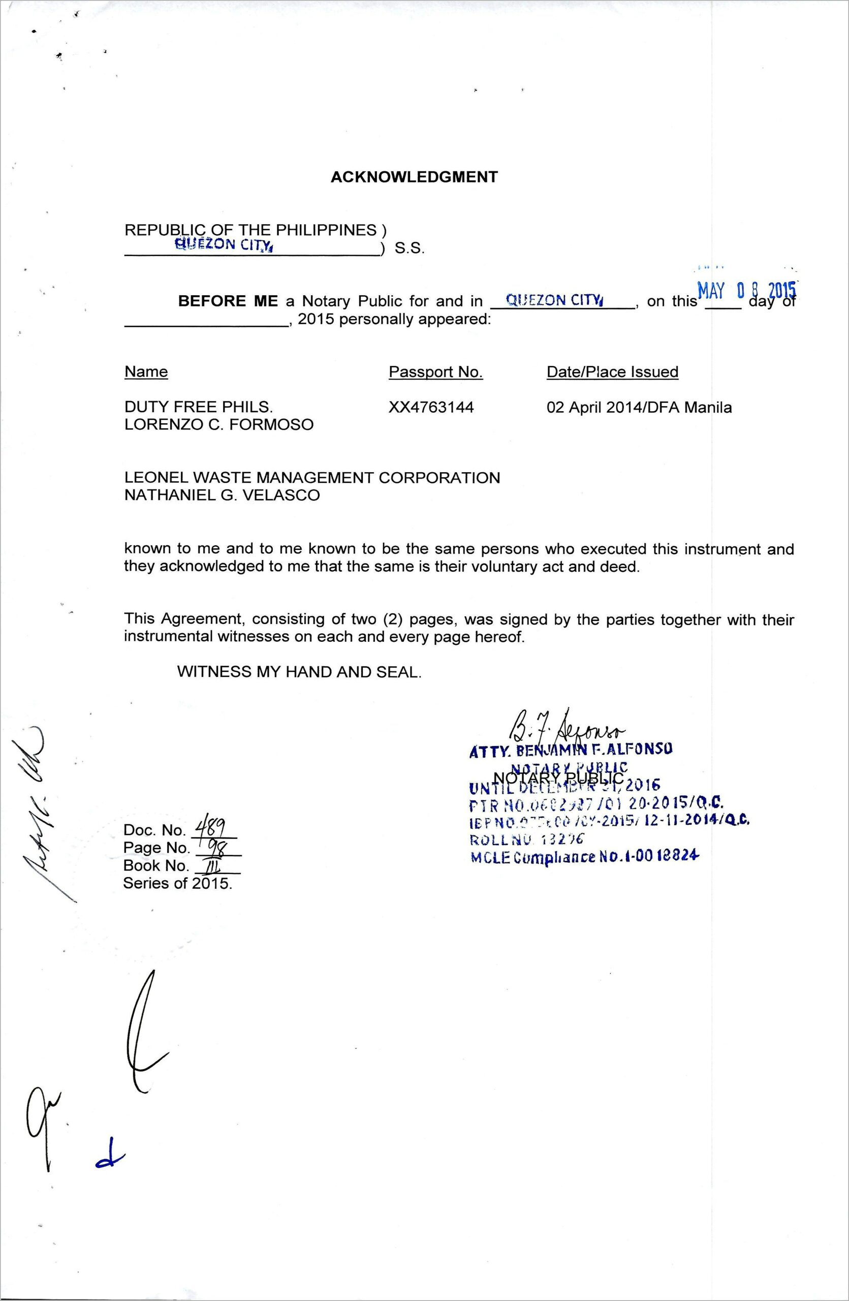 Acknowledgement Notary Public Sample Philippines