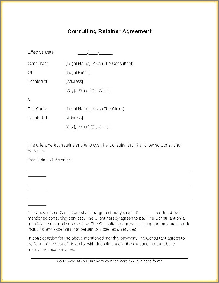 Attorney Retainer Agreement Template