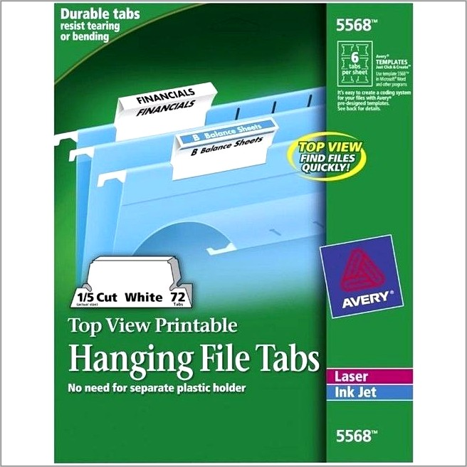 Avery Hanging File Folder Tab Inserts Template