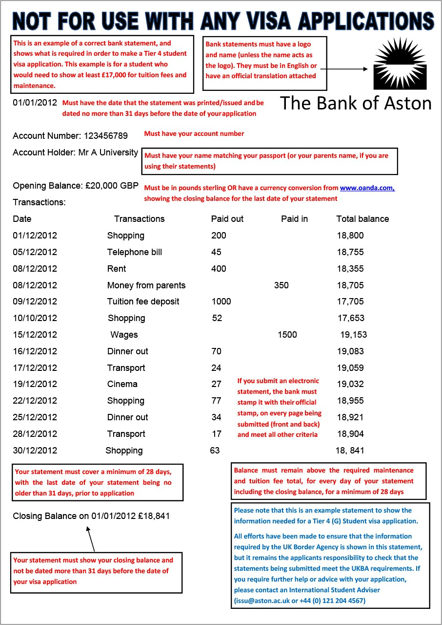 Bank Monthly Statement Format