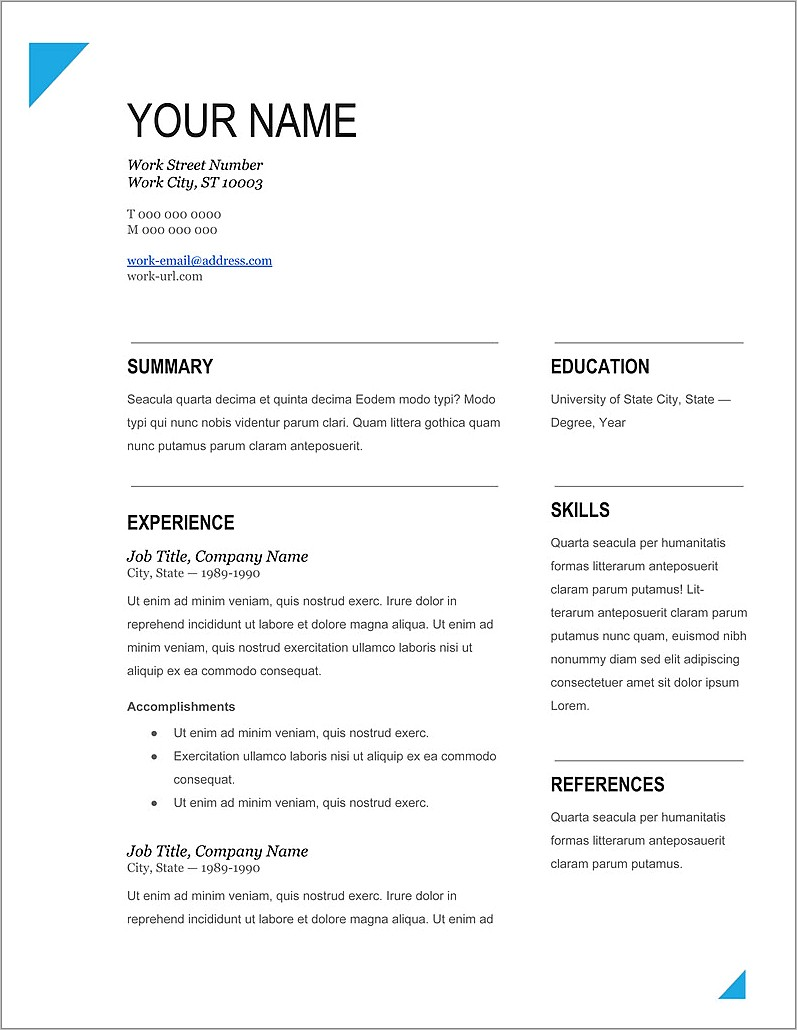 Best Free Word Template For Resume
