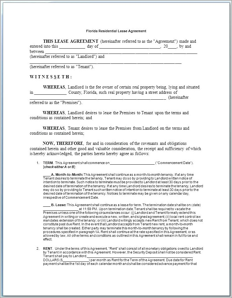 Blank Commercial Lease Agreement Florida
