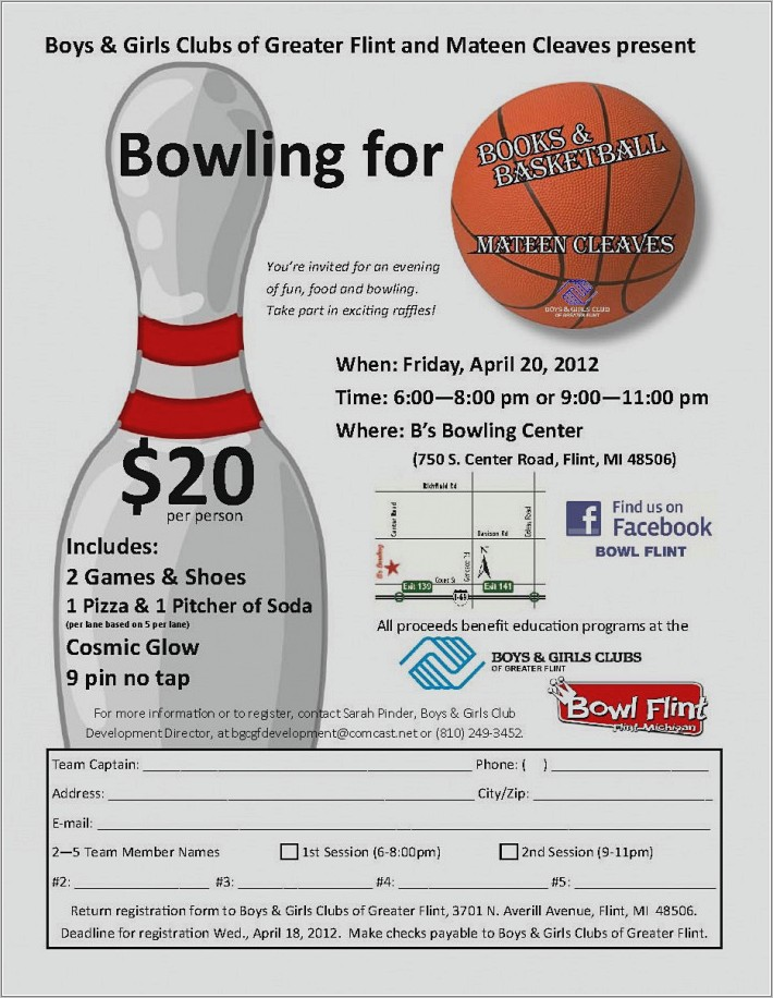 Bowling Fundraiser Flyer Template Free