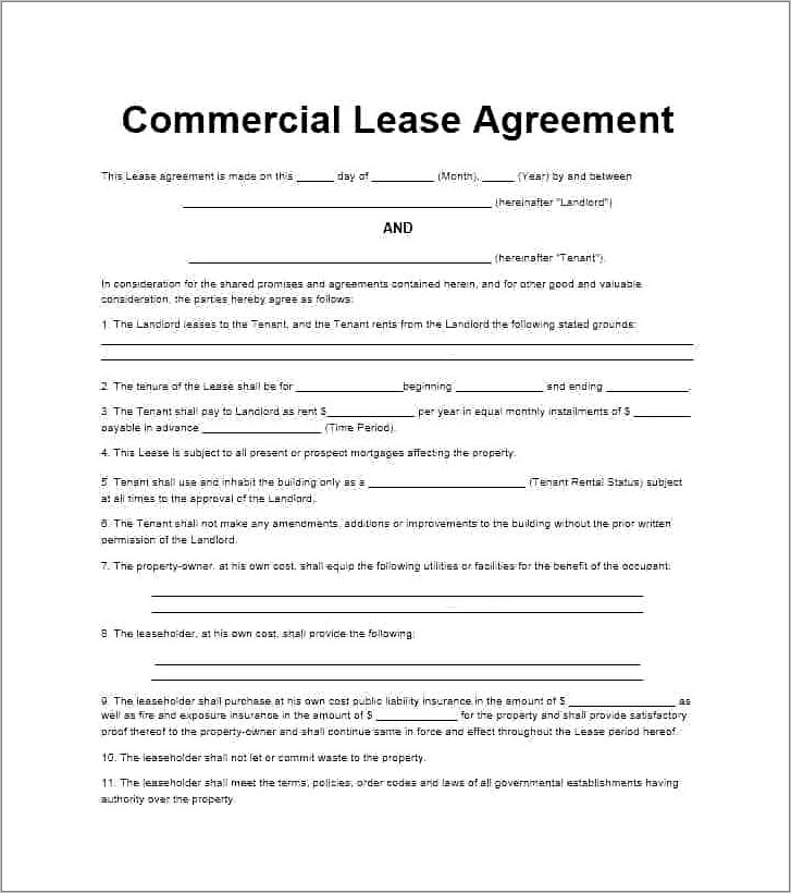 Building Lease Agreement Template Free