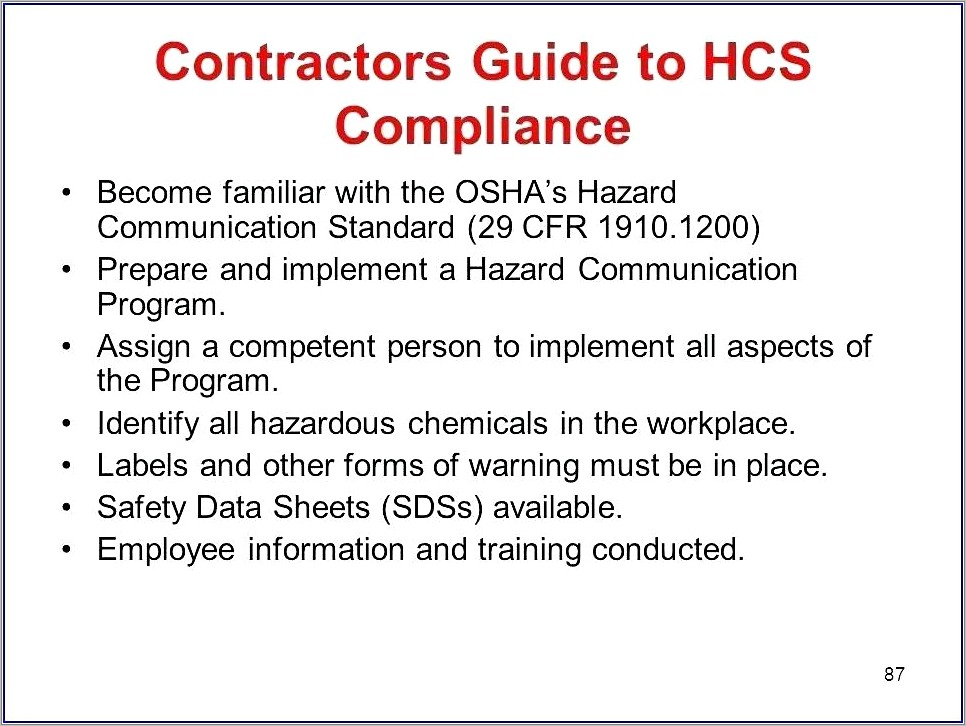 Cal Osha Hazard Communication Plan Template